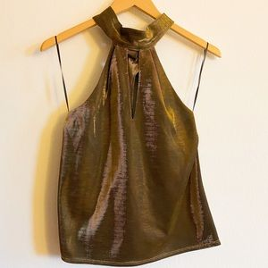 Open Back Self-tie Neck Hot Gold Shiny Top